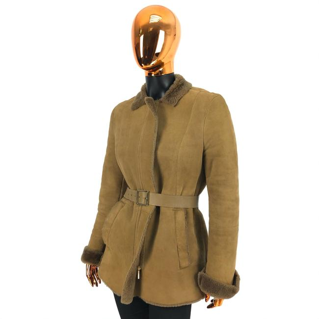 Item - Brown Womens Beige Leather Shearling Belted Coat Size 14 (L)