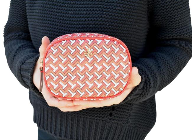 Item - T Tile Pouch Cosmetic Red Coated Canvas Wristlet
