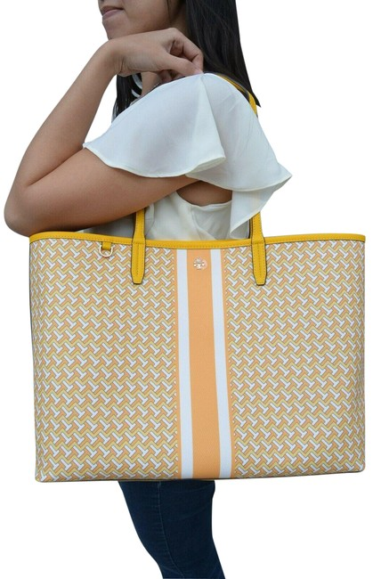 Item - T Tilt Allover Tzag Large Yellow Coated Canvas Tote
