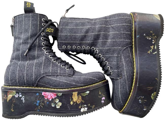 Item - Charcoal Grey Pinstripe Vibram / White Floral Double Stack Combat Boots/Booties Size US 9 Regular (M, B)