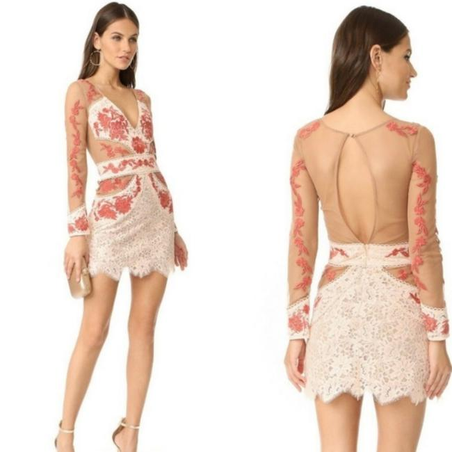 Item - Nude/Red Embroidered Mini Short Cocktail Dress Size 4 (S)
