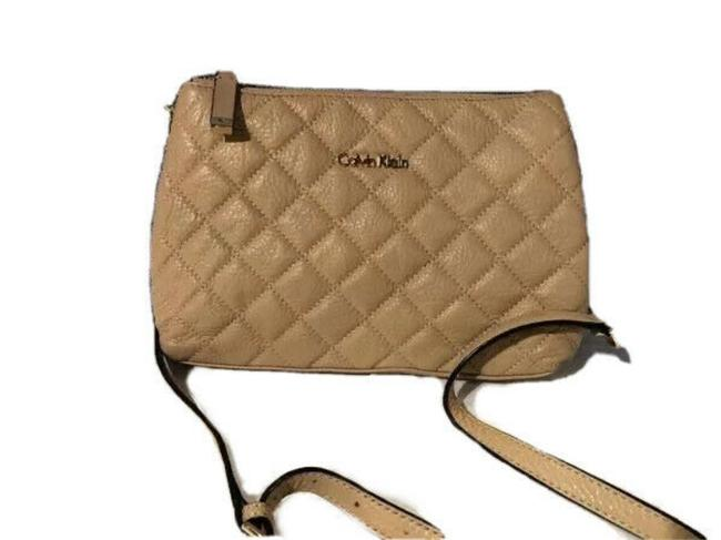 Item - Quilted Beige Faux Leather Cross Body Bag