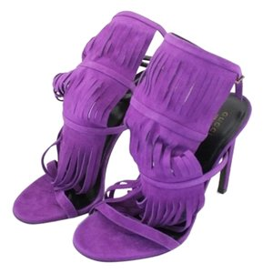 Gucci Suede Gladiator Fringe Purple Sandals