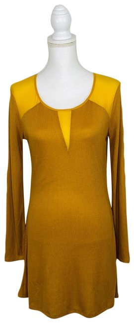 Item - Gold Ribbed Knit Long Sleeve Short Casual Dress Size 4 (S)