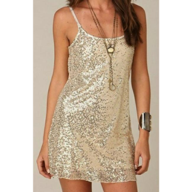 Item - Gold Sequin Sheer Short Night Out Dress Size 8 (M)