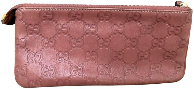 Item - Mauve Leather and Gg Leather Wristlet