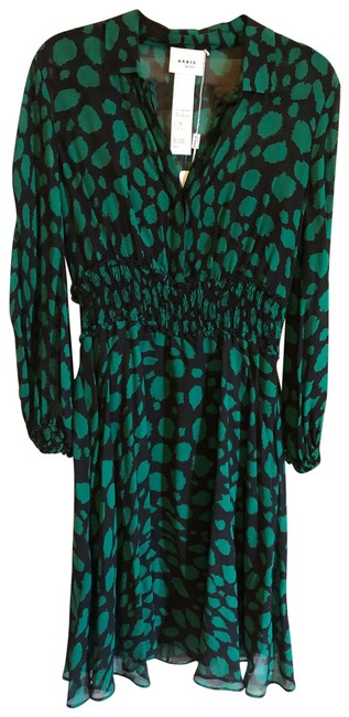 Item - Black / Emerald Green Leo-print Sheer Ruched Waist Mid-length Cocktail Dress Size 8 (M)