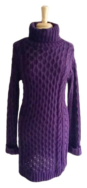 Item - Purple 525 Cable Knit Sweater Mid-length Short Casual Dress Size 6 (S)
