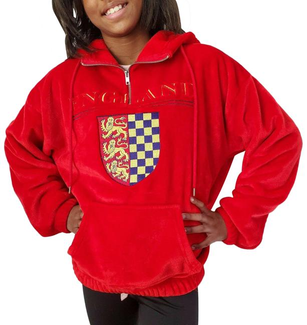 Item - Red England Graphic Plush Small 1/4 Zip Jacket Size 6 (S)