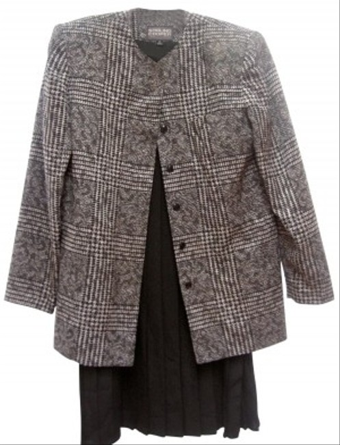 Casual Corner GRAY/BLACK SUIT 3/4 COAT - MIDI PLEATED SKIRT