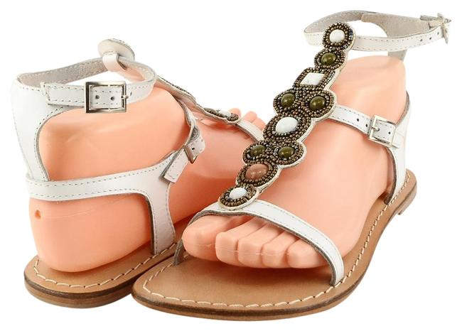 Item - White Mccaw Leather Beaded Strappy Flat Sandals Size US 8 Regular (M, B)
