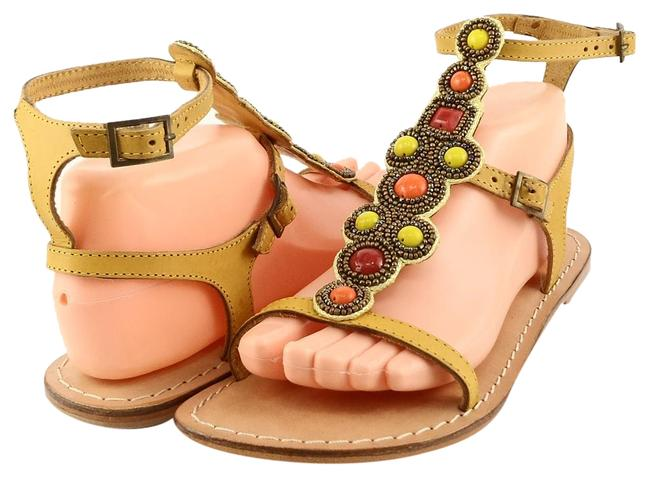 Item - Yellow Mccaw Leather Beaded Strappy Flat Sandals Size US 8 Regular (M, B)