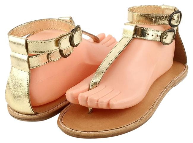 Item - Gold Wells Metallic Leather T-strap Thong Flat Sandals Size US 8 Regular (M, B)