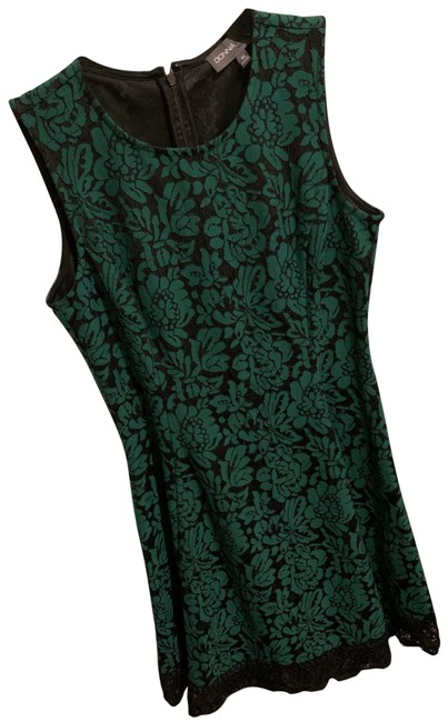 Item - Black and Green Lace Mid-length Cocktail Dress Size 10 (M)