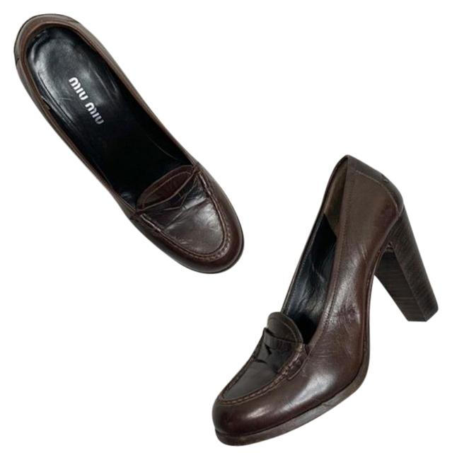 Item - Brown Leather Heeled Loafers Pumps Size EU 38.5 (Approx. US 8.5) Regular (M, B)
