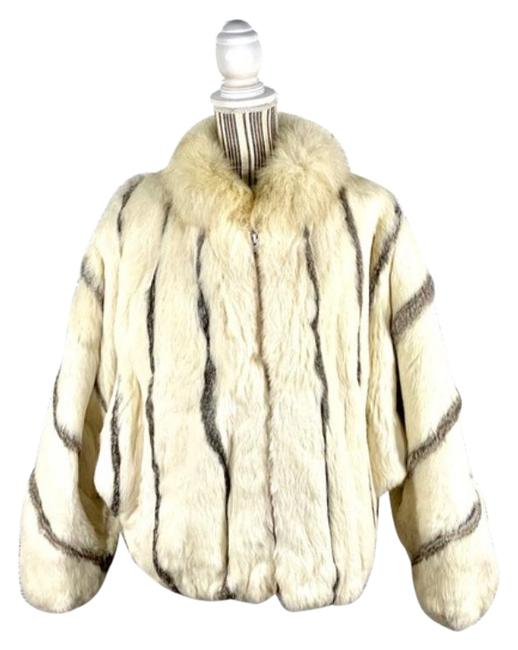 Item - Cream Gray And Striped Rabbit Coat Size 12 (L)