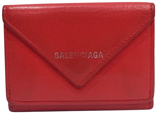 Item - Red Leather Trifold Card Wallet