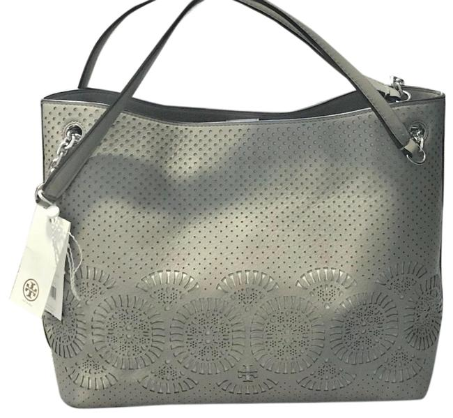Item - Zoey Center Zip Perforated French Grey Leather Tote