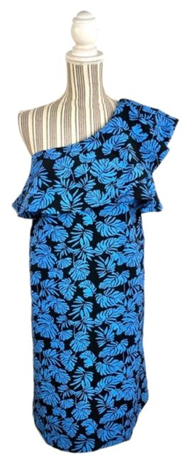 A Pea In The Pod Blue Black Tropical Leaf Print Ruffled One Shoulder Short Cocktail Dress Size 6 (S) A Pea In The Pod Blue Black Tropical Leaf Print Ruffled One Shoulder Short Cocktail Dress Size 6 (S) Image 1