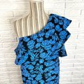 A Pea In The Pod Blue Black Tropical Leaf Print Ruffled One Shoulder Short Cocktail Dress Size 6 (S) A Pea In The Pod Blue Black Tropical Leaf Print Ruffled One Shoulder Short Cocktail Dress Size 6 (S) Image 2