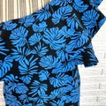 A Pea In The Pod Blue Black Tropical Leaf Print Ruffled One Shoulder Short Cocktail Dress Size 6 (S) A Pea In The Pod Blue Black Tropical Leaf Print Ruffled One Shoulder Short Cocktail Dress Size 6 (S) Image 3