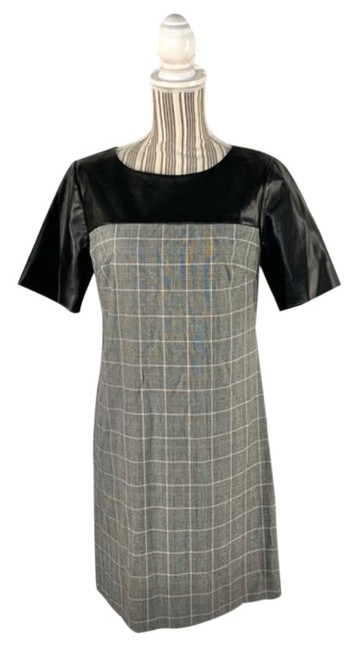 Item - Black Gray And Faux Leather and Plaid Shift Short Cocktail Dress Size 4 (S)