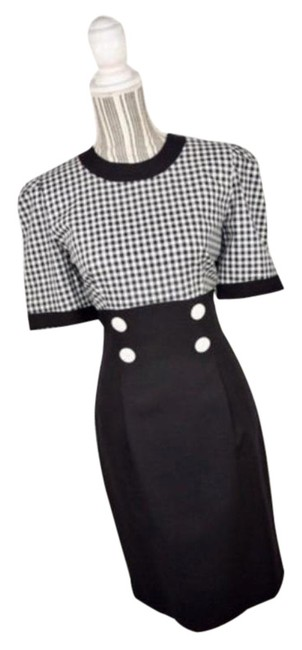 Item - Black White And Gingham Pencil Mid-length Work/Office Dress Size 8 (M)