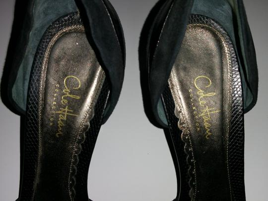 Cole Haan Black Suede Leather Combo Pumps