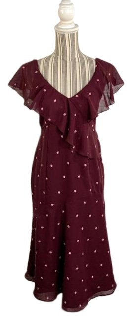 Item - Purple Ruffled Floral Maternity Long Cocktail Dress Size 6 (S)