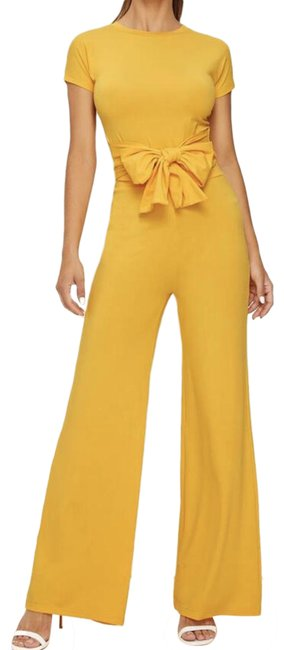 Item - Yellow Tie Front Skinny Tee with Wide Leg Pant Romper/Jumpsuit
