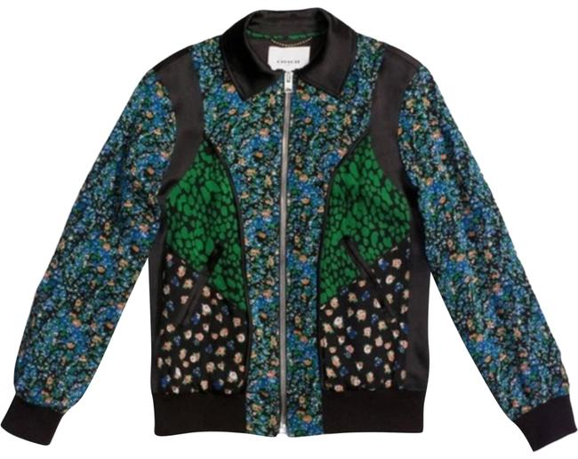 Item - Multicolor Silk Floral Framed Varsity Boho Jacket Size 4 (S)