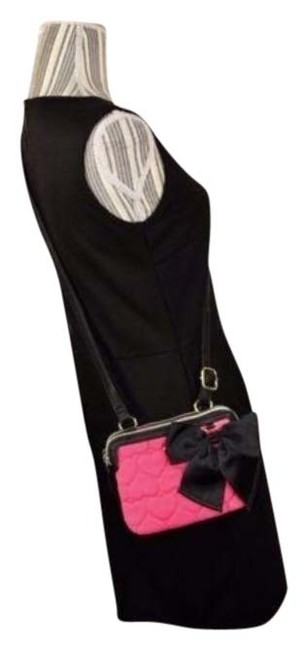 Item - Heart Quilted Pink Black Nylon Cross Body Bag