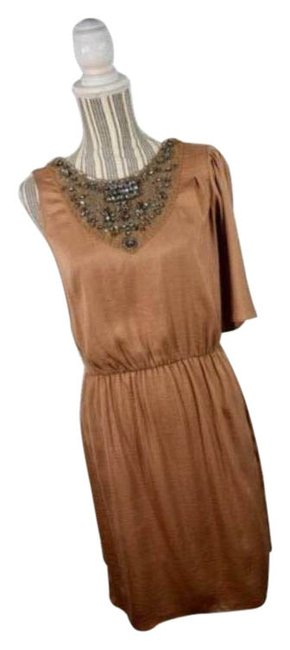 Item - Brown Silky Light Asymmetrical Short Cocktail Dress Size 8 (M)