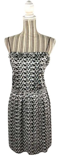 Item - Silver Black And Checkered Patterned Short Cocktail Dress Size 12 (L)