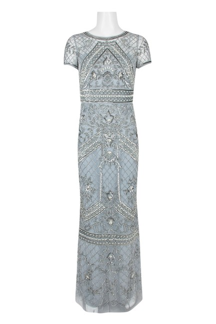 Item - Silver Mist Short Sleeve Beaded Long Formal Dress Size 2 (XS)