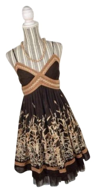 Item - Brown Tan Floral Silk Spaghetti Short Casual Dress Size 6 (S)