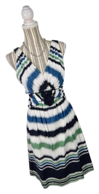 Item - Blue Green Ruffled Striped Knee Length Mid-length Short Casual Dress Size 8 (M)