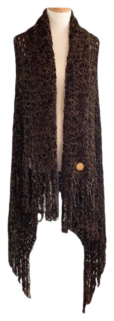 Item - Brown Vintage Chenille Large Perforated Shawl Poncho/Cape Size OS (one size)