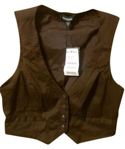 bebe Vest Crop Top Brown