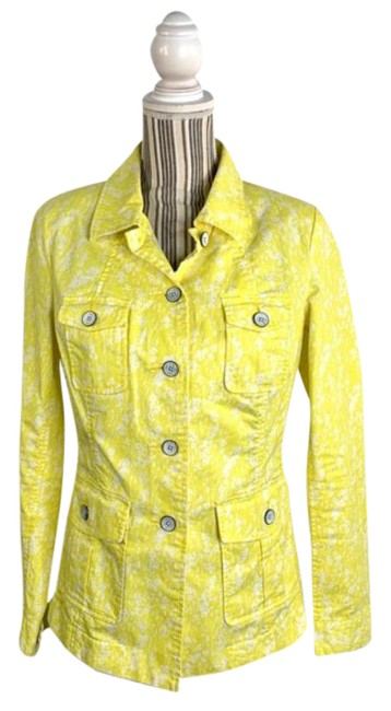 Item - Yellow White And Patterned Lightweight Jacket Size 6 (S)