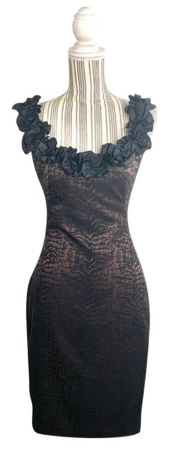 Item - Brown Black And Animal Print Mid-length Cocktail Dress Size 10 (M)