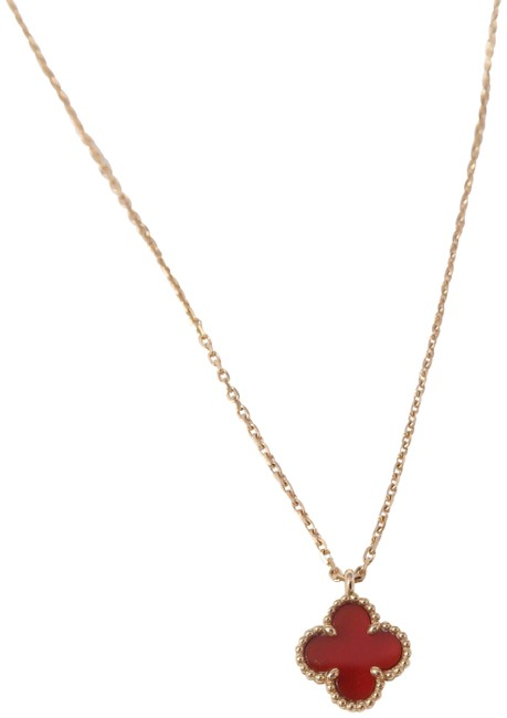Item - Rose Gold Carnelian Small Sweet Alhambra Necklace