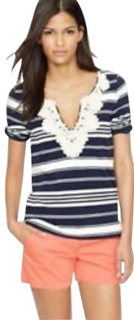 Item - Navy Blue White Cream Nautical Striped Rope Embroidered Tee Shirt Size 10 (M)