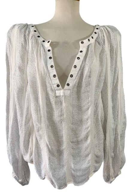 Item - Ivory and Metallic Silver Blouse Size 4 (S)