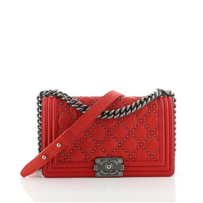 Item - Classic Flap Boy Quilted Studded Distressed Calfskin Old Medium Red Leather Cross Body Bag