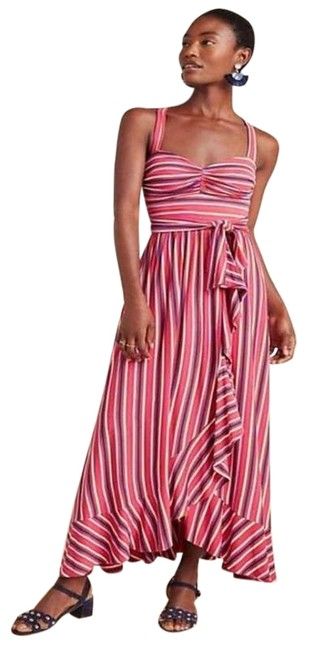 Item - Pink New Gabriela Striped Ruffled Sweetheart Tie Waist Long Casual Maxi Dress Size 2 (XS)