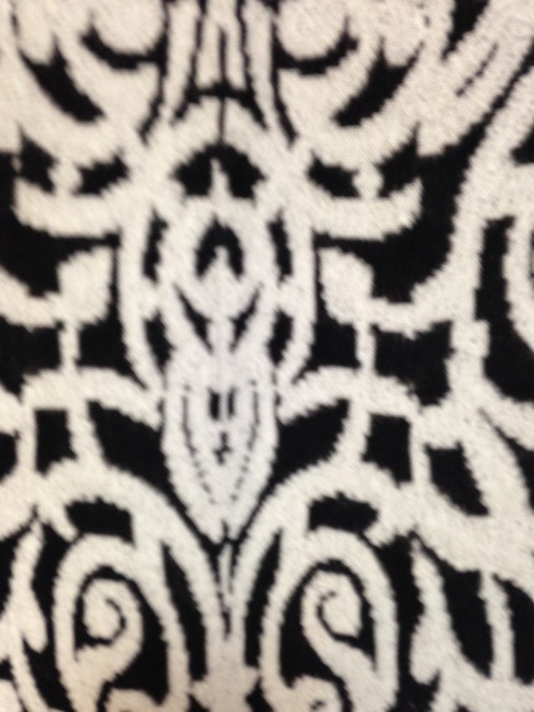 Peruvian Connection Brocade Print Skirt Black and White