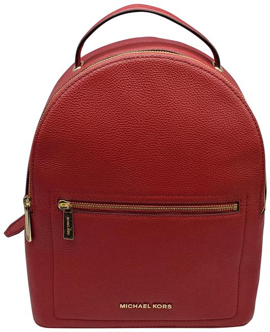 """Item - W L Official Measurements: 10"""" (Across Bottom) X 12"""" H X 4.5"""" Scarlet Leather Backpack"""