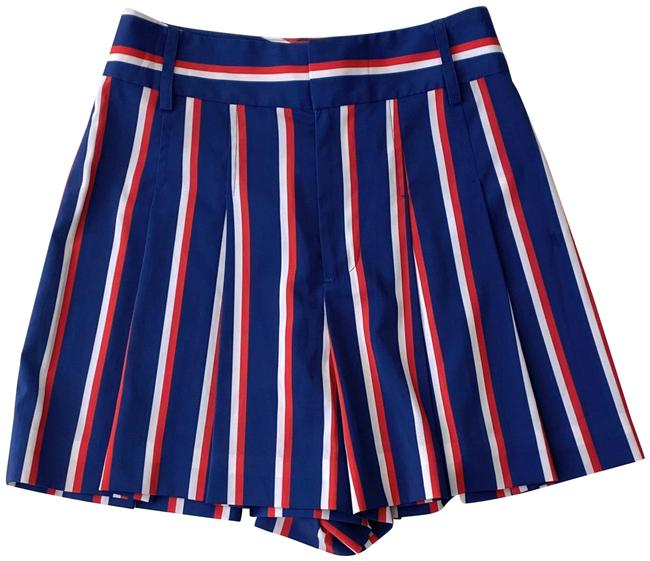 Item - Blue Red Scarlet Striped Pleated High Waist Shorts Size 0 (XS, 25)