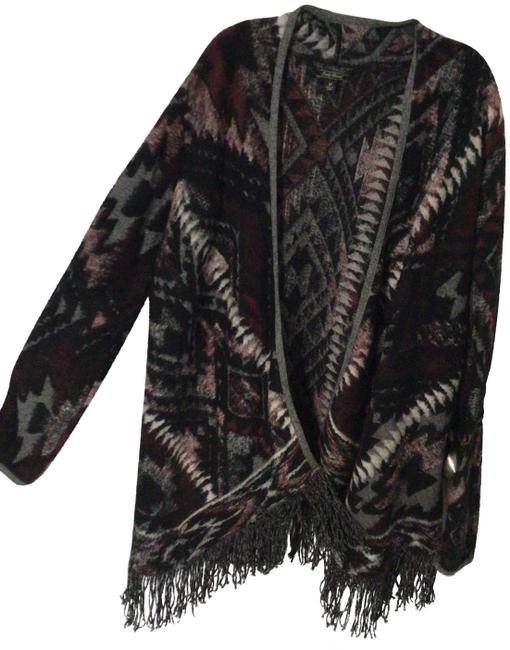 Item - Multi - Gray Purple White And Soft Aztec with Sleeves Poncho/Cape Size 8 (M)
